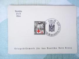 Briefkaart met postzegel en stempel Kriegshilfswerk LUBLIN 1940 Duits Rode kruis DRK
