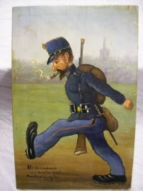 Schilderij op houten paneel, militair tafereel, Als de landweer huis toe gaat, mobilisatie 1914