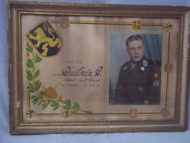 Belgische herinneringslijst van militaire dienstplicht, lanciers regiment, foto met soldaat in uniform, zeer decoratief.