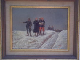 Painting French officers in discussion.  signed  A. BALQUET. Schilderij Franse soldaten, officieren, 1915 in het midden een Franse generaal. TOP schilderij. ingelijst. schilderij is 31 -41 cm, in lijst 45 - 55 cm.