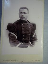 Portretfoto Franse soldaat treinbattaljon, zeldzaam mouwembleem, TOP