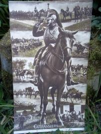 Souvenir WW1 10 postcards become 1 big photo of a French cuirasier.. Grote foto bestaat uit 10 postkaarten welke de soldaat kon losknippen en versturen. zeer bijzonder. Franse kurassier