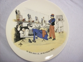 French reservist plate, WW1 Sarreguemines, Karikatuur wandbord Frans leger