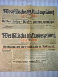 2 Duitse kranten met een decoratieve hoofdtitel.