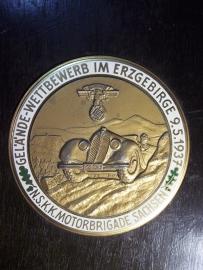 German plaque NSKK, very rare. Duitse plaquette met emaille van de NSKK, diameter 9 cm. NSKK Motorbrigade Sachsen, Gelande Wettbewerbfahrt  in Erzgegirgte 9-5-1937