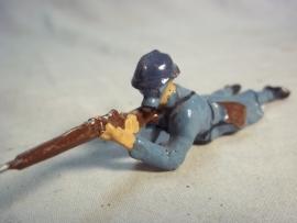 French soldier with gasmask. IMPORTED ALLEMAND. Frans soldaatje met gasmasker Franse makelij mooie afbeelding