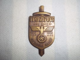 German Tinnie NSDAP- 10 Jahre kampf. Gau Baden 1925-1935. Duitse tagungsabzeichen apart. goede staat