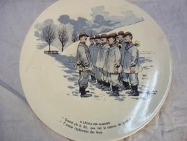 French reservist plate WW1, Frans karikatuur bord. Sarreguemines