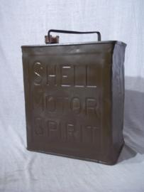 Blik SHELL MOTOR SPIRIT, groen geverfd, met bronzen Shell sluitdop Shell-Mex. item uit de jaren 30, leuk decoratief blik.