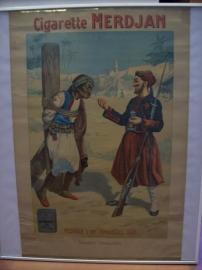 Advertising poster. reclame plaat sigaretten merk, Zouaaf bij gevangene, Merdjan originele plaat, ZELDZAAM