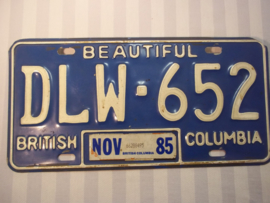 License plate, nummerbord, British - Columbia 1985