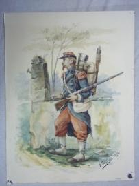 Water- coloured picture of a French soldier 1870-1871, signed A.DUBOUX 1898.Aquarel van een Franse soldaat Frans Duitse oorlog met complete bepakking, 28 bij 22 cm in lijst