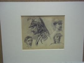 Pencil drawing of Otto von Faber du Faur. 1828- 1901,study of Military heads,Originele potloodtekening, kopstudie van soldaten, met prachtig getekende Franse Kurassier. TOP ingelijst met paspartout.
