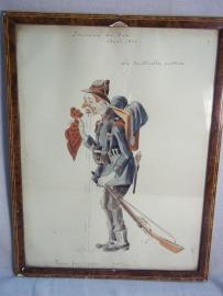 Drawing, water- coloured,Belgium soldier say goodbye and is sat.1914, Aquarel van een Belgische soldaat Wielrijder, die afscheid neemt om naar het front te gaan, mooie karikatuur schets gesigneerd 1914