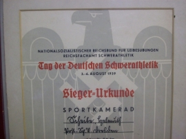 German sport document, nice condition. Duitse sport oorkonde