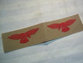 RAF sleeve badge, tropical style. RAF schouderemblemen gedrukt links en rechts, tropen uitvoering.