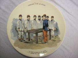 French reservist plate WW1 Sarreguemines. Karikatuur wandbord Frans leger