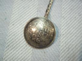 Dutch patriotic spoon made of coins. Lepel bezettingstijd, met munten van koningin Wilhelmina