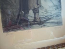Nice print signed and numbered. Druk, genummerd en gesigneerd, Belgische soldaat aan de ijzer WO1, ingelijst.