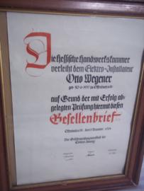 Duits ingelijste gezellen brief 1934, met zeer bijzondere stempel gedrukt in het papier. zeer bijzonder