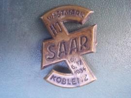 German H.J. Tinnie Saar Koblenz Westmark 1934. Duitse tinnie blik wolfsangel Hitlerjugend 1934.