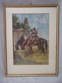 Prent met Zwitserse soldaten op paard, aquarel of druk ??. mooi met paspartout.