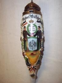 German vetrans pipe with miniature spike helmet. Duitse reservisten pijp 1908 4.Lothringischen Infanterie regiment Nr.136, van een mijnwerker Bergmann. apart