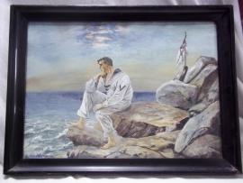 Original water coloured painting German sailor of the reichsmarine with flag.Origineel aquarel gesigneert E.HILDEBRAND matroos op de kust afm 41 x 30 cm.