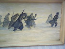 Painting, Dutch or German soldiers in a snow landscape, not signed. Schilderij Nederlandse of Duitse soldaten in een sneeuw landschap afm. 20 bij 38 cm. zeer bijzondere voorstelling.