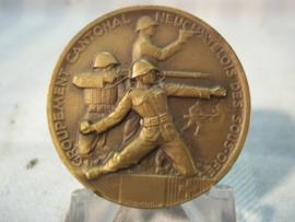 Swiss NCO medal, Zwitserse medaille, voor onderofficieren 1935 Groupment cantonal Neuchatelois des sous off.