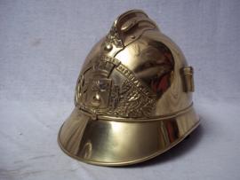 French fire helmet 1890, complete with innerliner. Franse brandweerhelm met binnenwerk en kinriem, grote maat. mooie complete helm welke je met binnenwerk nog maar weinig ziet.
