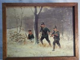 Painting Christiaan Sell, 1870. Schilderij op hout 3 Duitse soldaten TOP, zeer gedetailleerd.  18 bij 15 cm