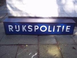 Dutch outdoor sign police station. Lichtbak politiebureau RIJKSPOLITIE jaren 60-70.