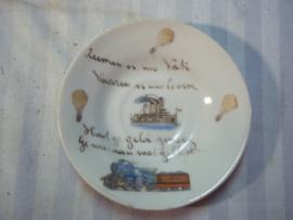 Nederlands bord Zeeman is mijn vak, Varen is mijn leven, had ge geld genoeg, Ge was aan wal gebleven. met kanonneerboot pantserkruiser ballon en trein met 1914, zeldzaam.