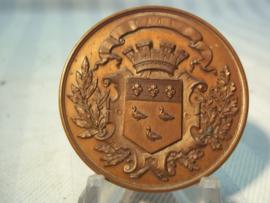 French table- medal, shooting price. Franse bronzen penning,  schietprijs  brons, van de stad LAON.