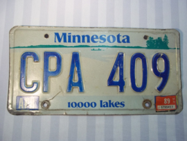 License plate, nummerplaat Minnesota 1989