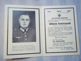 German death- card Duits doodsprentje Artillerie regiment