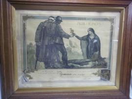 Remembrance poster 1914 - 1918 of a died Belgium soldier. Herinneringsplaat, overleden Belgische soldaat nooit uit de lijst geweest