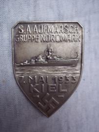 German tinnie, rally badge, Duitse tinnie SA Aufmarsch Gruppe Nordmark, 7. Mai 1933 KIEL. vroege tinnie