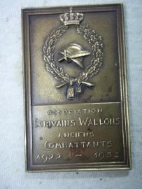 Belgium plaque 1922- 1932 for the vets of world war 1. Belgische plaquette 10 jaar wallonische oud strijders vereniging.