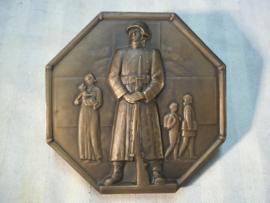 Zwitserse bronzen plaquette donateur Rode kruis 1940 met zegel, middel groot.