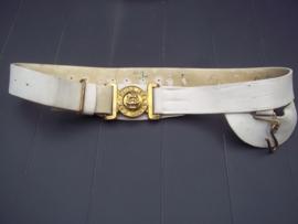 British leather belt with buckle victorian. leren riem met vicroriaans koppelslot, dat maakt het interessant en moeilijk om te vinden. zeer gewild object in Engeland.