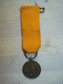 Nederlandse miniatuur medaille brons met J.