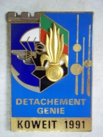 French Foreign badge Detachment Genie Koweit 1991 No R number.Frans embleem van de genie 1991