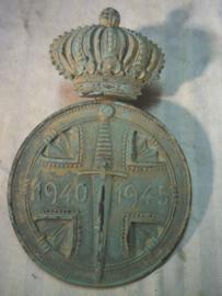 Bronse plaque Belgium medal. Bronzen plaquette van Belgische medaille 25 bij 17 cm.
