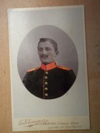 Photograph German soldier coloured.Foto Pruisische soldaat ingekleurd.