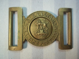 British buckle of the Royal marines with the old type of crown. Engels koppelslot Marines met de oorlogskroon.
