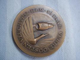 Bronzen penning Verre Oosten vluchten KLM 50 jaar