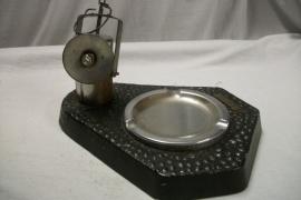 Ashtray, with trademark and working Minerslamp, Reclame asbak met mijnlamp, welke met batterij gaat branden