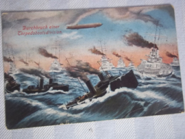 Duitse briefkaart, WO1, Marine feldpost stempel vanaf een boot, zeer bijzonder.